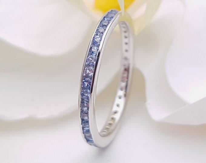 Natural Aquamarine  2.5mm wide full eternity ring avalable in 10k, 14k, 18k yellow, rose or white gold