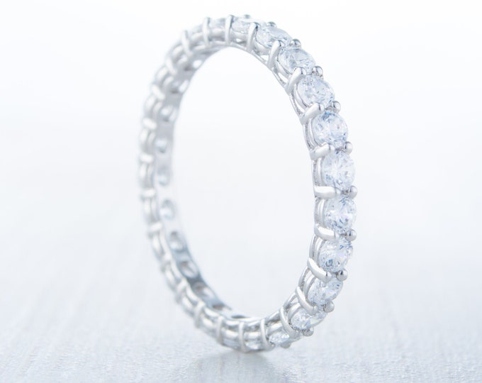 Solid Gold 2.5mm wide Man Made Diamond Simulant FULL Eternity ring - stacking ring - wedding band