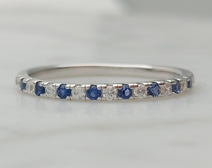 1.8mm wide Lab Blue & White Sapphire Half Eternity ring in white gold or Silver - stacking ring - wedding band - handmade engagement ring