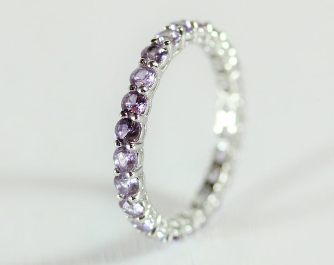 Alexandrite 2.5mm wide full Eternity ring - stacking ring - wedding band available in gold and platinum