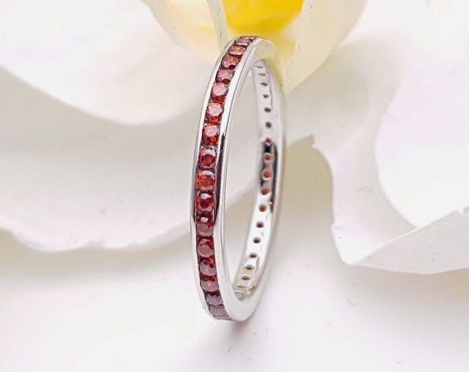 Natural Garnet 2.5mm wide full eternity ring avalable in 10k, 14k, 18k yellow, rose or white gold