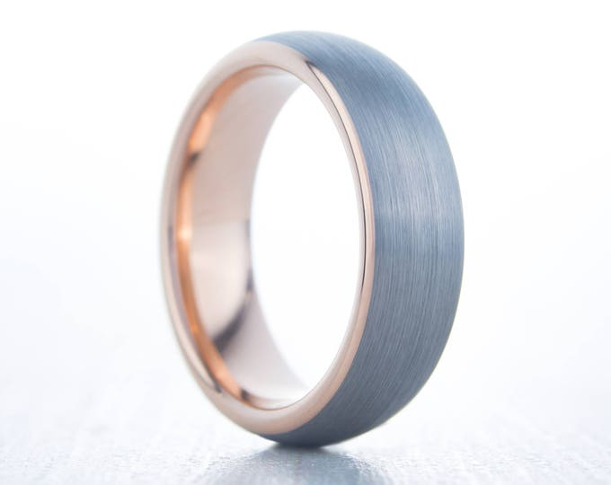 5mm 14K Rose Gold and Brushed Titanium Wedding ring band for men and women