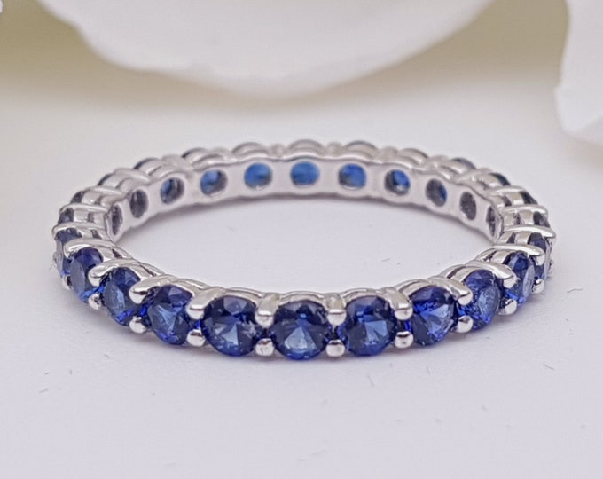 Blue sapphire 2.5mm wide full Eternity ring - stacking ring - wedding band available in gold and platinum