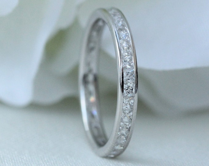 Sterling Silver 3mm wide princess cut Man Made Diamond Simulant Full Eternity ring - stacking ring - wedding band