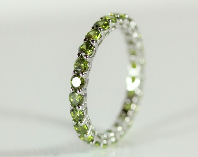 Peridot 2.5mm wide full Eternity ring - stacking ring - wedding band available in gold and platinum
