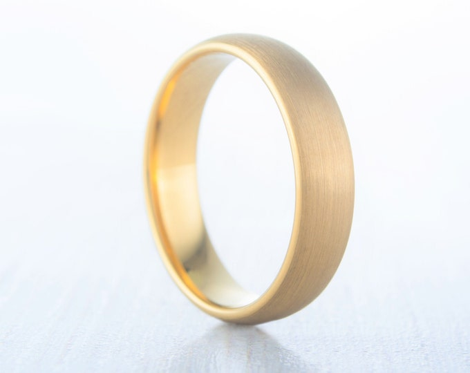 5mm 18K Yellow Gold and Brushed Titanium Wedding ring band for men and women