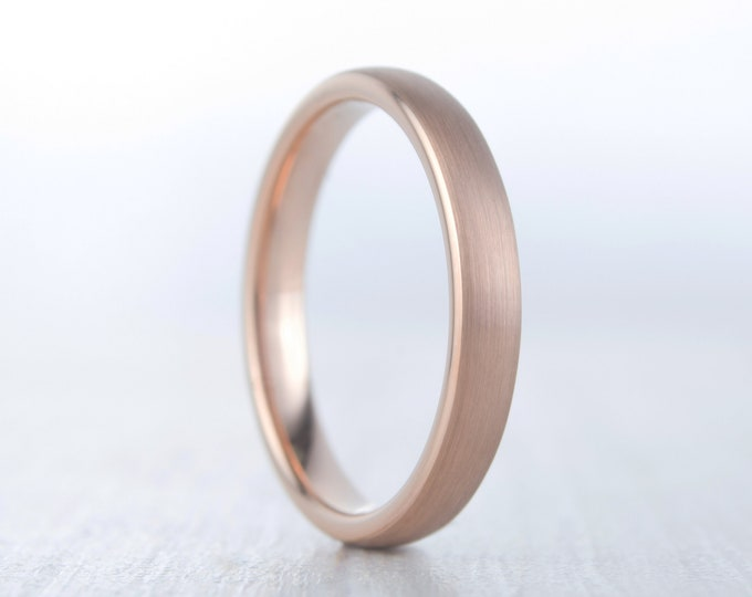 3mm wide 14K Rose Gold and Brushed Titanium Wedding ring band for men and women