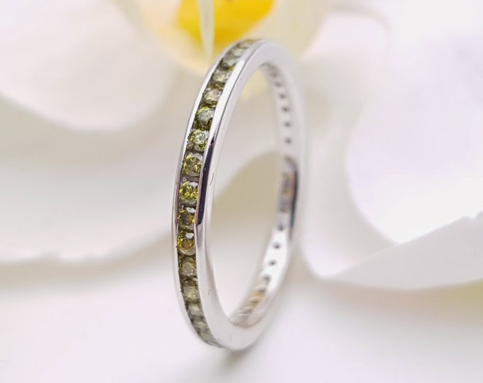 Peridot 2.5mm wide full eternity ring avalable in 10k, 14k, 18k yellow, rose or white gold