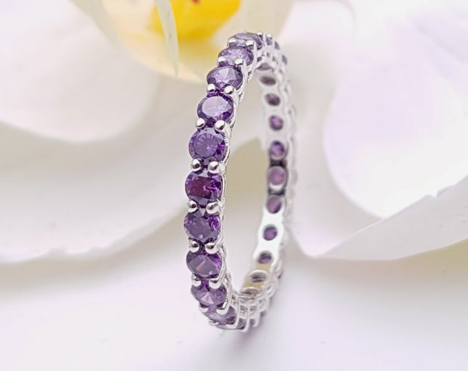 Amethyst 2.5mm wide full Eternity ring - stacking ring - wedding band available in gold and platinum