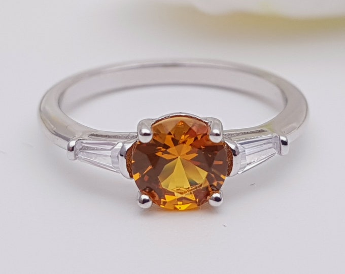 1.5ct Orange Sapphire & Solid gold man made diamond solitaire ring available in Rose, yellow, white ogld and platinum