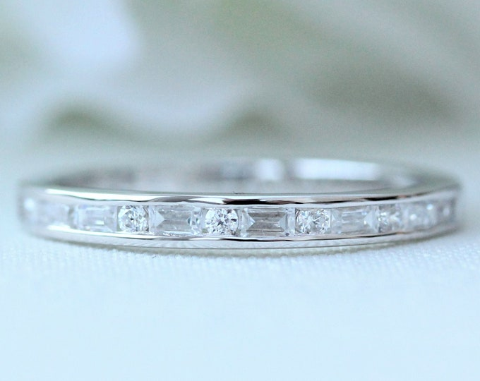 Sterling Silver 3mm wide emerald & round cut Man Made Diamond Simulant HALF Eternity ring - stacking ring - wedding band