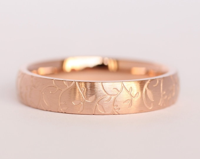 4mm wide 18K Rose Gold and Brushed Titanium with engraved detail Wedding ring band for men and women