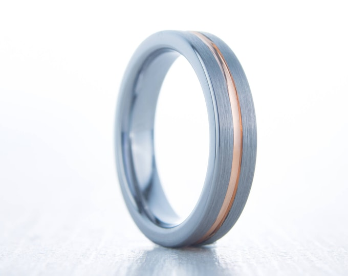 4mm 14K Rose Gold and Brushed Titanium Couples Wedding ring band for men and women