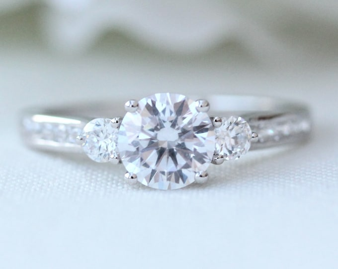 Sterling silver 3 stone Trilogy ring with man made diamonds ring available - engagement ring
