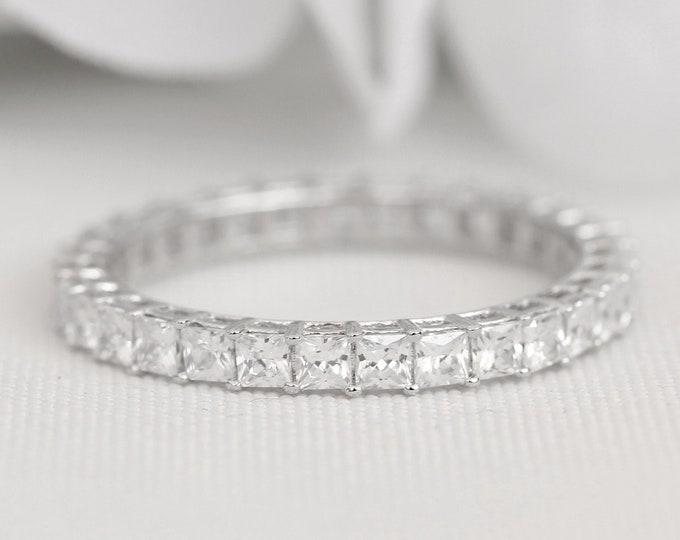 Solid Platinum 2.5mm wide princess cut Man Made Diamond Simulant FULL Eternity ring - stacking ring - wedding band