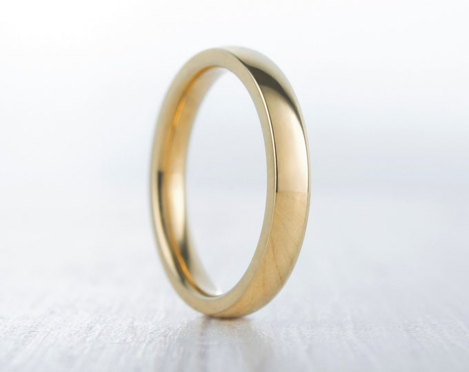 3mm Wide, filled 18ct Yellow gold Plain Wedding band Ring - gold ring