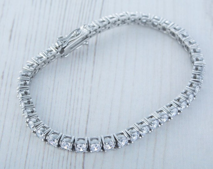 4mm PURE TITANIUM tennis bracelet with man made diamonds - different lengths available