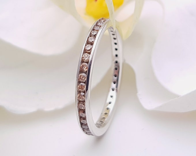Natural Citrine 2.5mm wide full eternity ring avalable in 10k, 14k, 18k yellow, rose or white gold