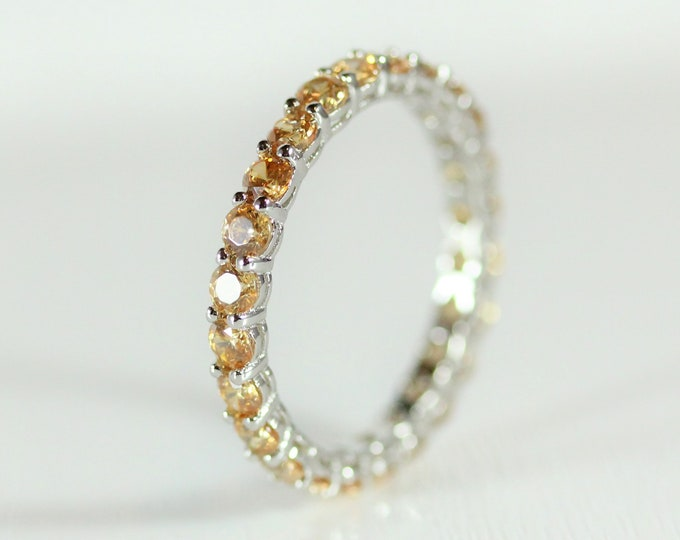 Citrine 2.5mm wide full Eternity ring - stacking ring - wedding band available in gold and platinum