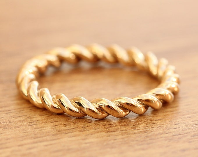 3mm Solid gold twist Weave Ring - wedding ring - wedding band - promise ring