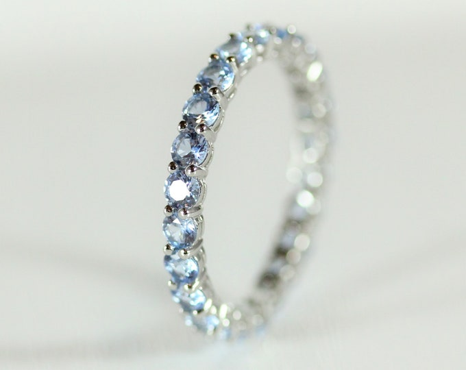 Aquamarine 2.5mm wide full Eternity ring - stacking ring - wedding band available in gold and platinum