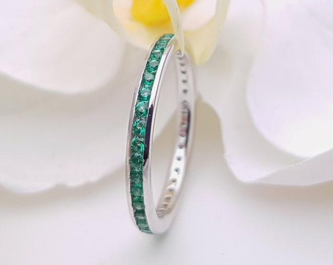 Natural Emerald 2.5mm wide full eternity ring avalable in 10k, 14k, 18k yellow, rose or white gold