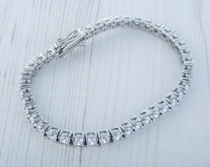 PURE TITANIUM tennis bracelet with man made diamonds - 3mm, 4mm, or 5mm stones set