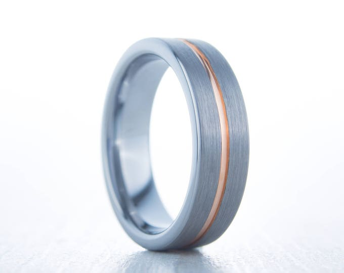 6mm 14K Rose Gold and Brushed Titanium Couples Wedding ring band for men and women