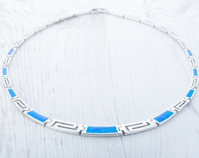 On Sale! Natural blue & green Opal and Sterling silver Necklace