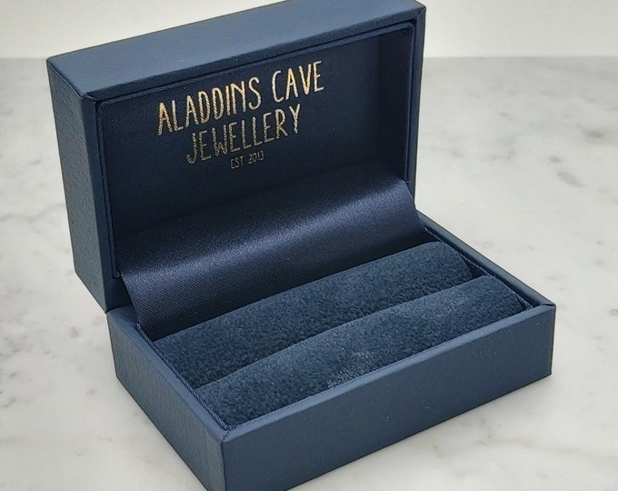 Bride and groom double Luxury ring leatherette box in navy blue