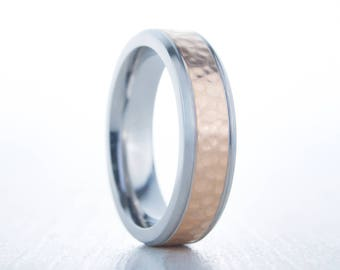 6mm wide hammered 14K Rose Gold Wedding ring band available in Titanium, cobalt chrome, tungsten or white gold