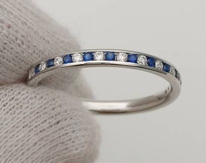 Moissanite and blue sapphire 2.5mm wide half eternity ring available in 10k, 14k, 18k yellow, rose or white gold and platinum