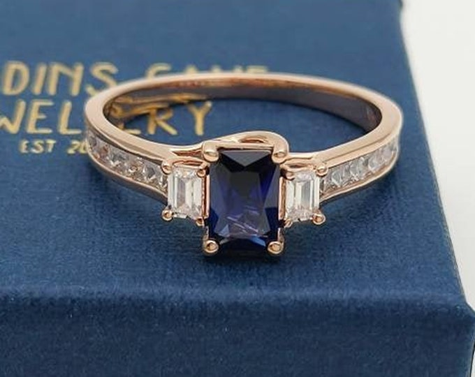 Blue Sapphire Solid Gold Radiant 3 stone Trilogy ring with man made diamonds - yellow, rose or white gold - engagement ring
