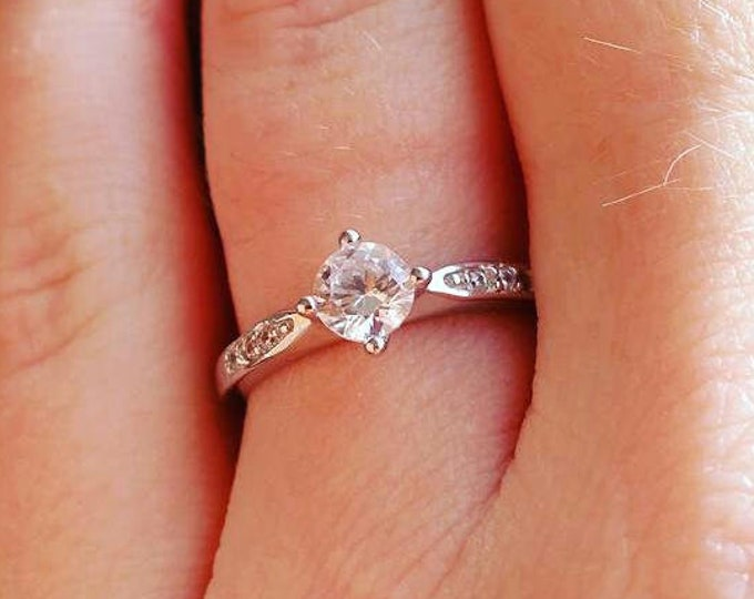 Solitaire engagement ring with Man Made Diamond Simulants - Available in white gold or sterling silver - handmade ring
