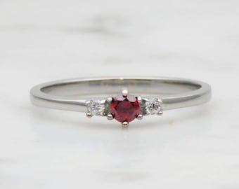 Natural Garnet and White Sapphire 3 stone Trilogy Ring in White Gold or Titanium  - engagement ring - handmade ring