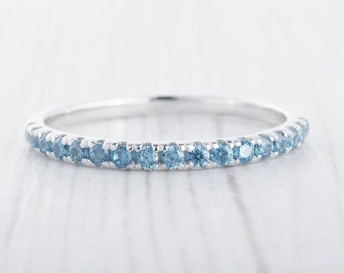 1.8mm wide natural blue topaz Half Eternity ring  in white gold or Silver - stacking ring - wedding band - handmade engagement ring