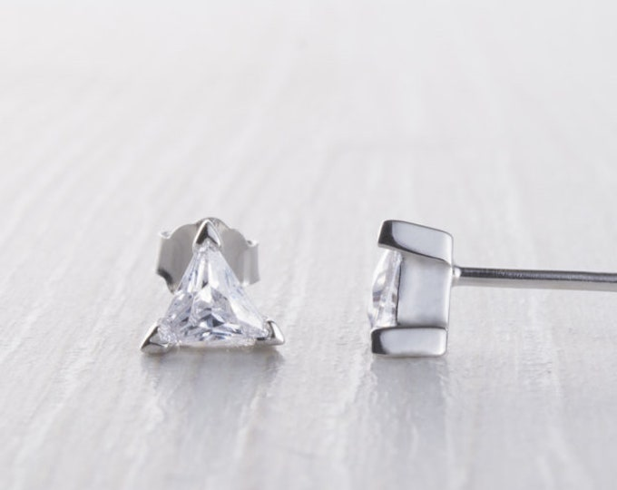 Trillion cut Man Made Diamond Simulant stud earrings, Available in Sterling Silver and White gold filled, 3mm or 5mm sizes