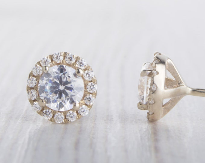 Solid Yellow Gold and Man Made Diamond Simulant stud earrings, Available in 3mm or 4mm sizes