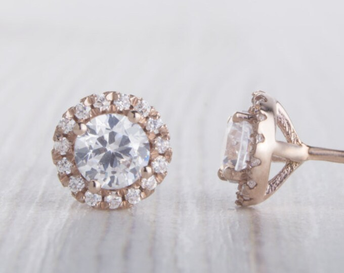 Solid Rose Gold and Man Made Diamond Simulant stud earrings, Available in 3mm or 4mm sizes