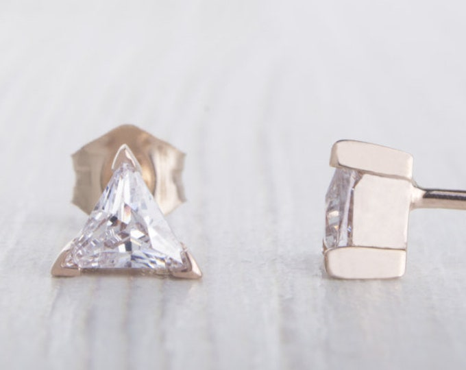 Solid Rose Gold and Man Made Diamond Simulant stud earrings, Available in 4mm or 5mm sizes