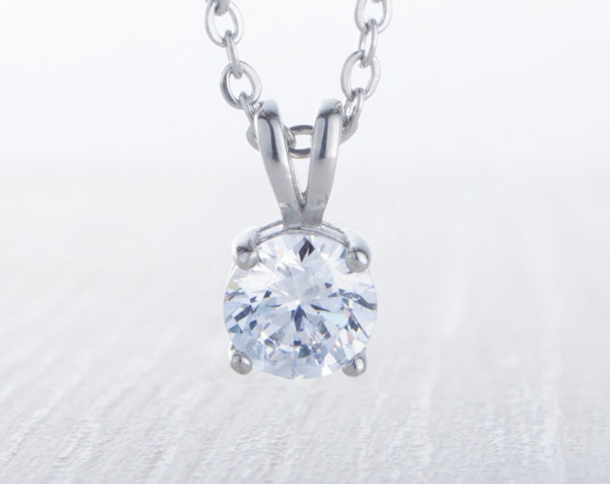 Necklace with Man Made Diamond Simulant pendant - available in 4mm, 5mm, 6mm, 7mm sizes - Available in titanium