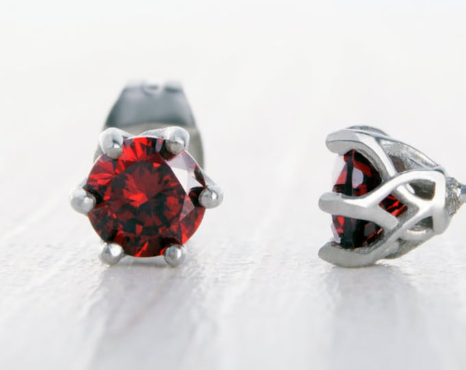 Natural Garnet stud earrings, available in titanium, white gold and surgical steel 4mm & 5mm sizes