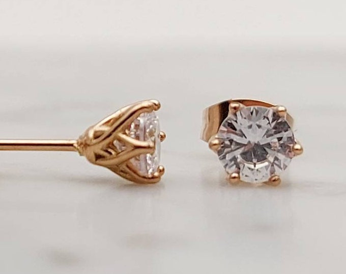 Man Made Diamond Simulant stud earrings in Rose gold and titanium, available 4mm, 5mm or 6mm sizes