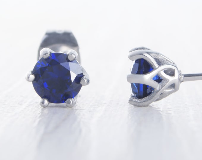 Lab Blue Sapphire stud earrings, available in titanium, white gold and surgical steel 4mm, 5mm, 6mm sizes