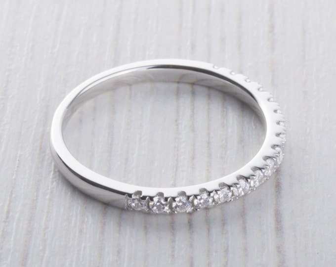 1.8mm wide Man Made Diamond Simulant Half Eternity ring  in white gold or Silver - stacking ring - wedding band - handmade engagement ring