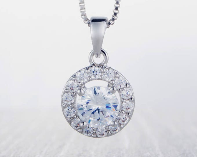 On Sale! Necklace with Halo style Man Made Diamond Simulant pendant - white gold filled