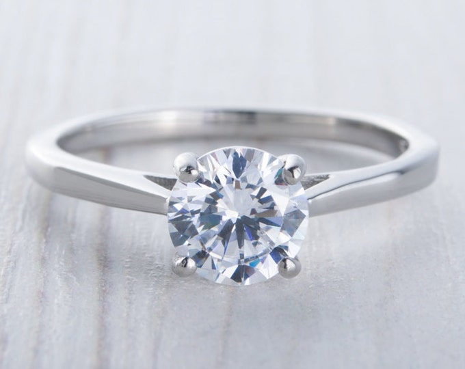 1ct Man Made Diamond Simulant solitaire cathedral ring in Titanium or White Gold - engagement ring - wedding ring - handmade ring