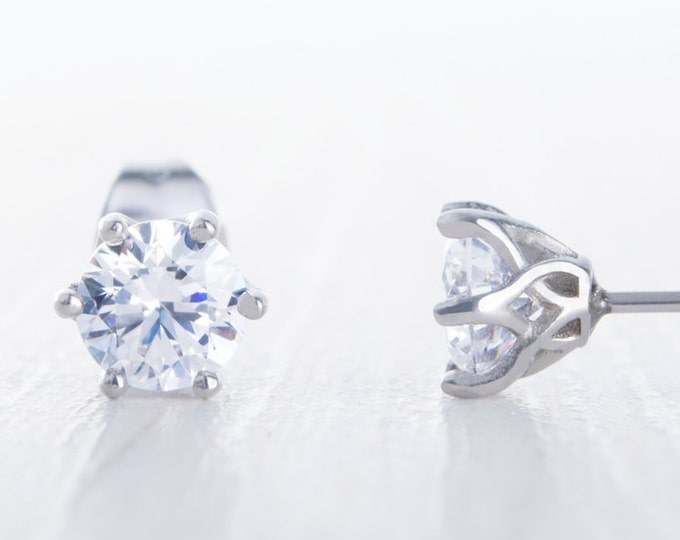 Man Made Diamond Simulant stud earrings, available in titanium, white gold and surgical steel 4mm, 5mm or 6mm sizes