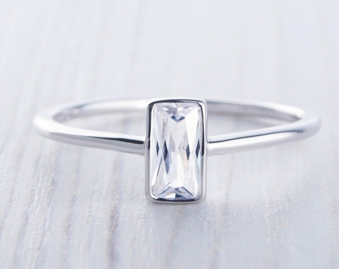 On Sale! Man Made Diamond Simulant Radiant cut solitaire ring available in white gold or Silver - stacking ring - wedding band