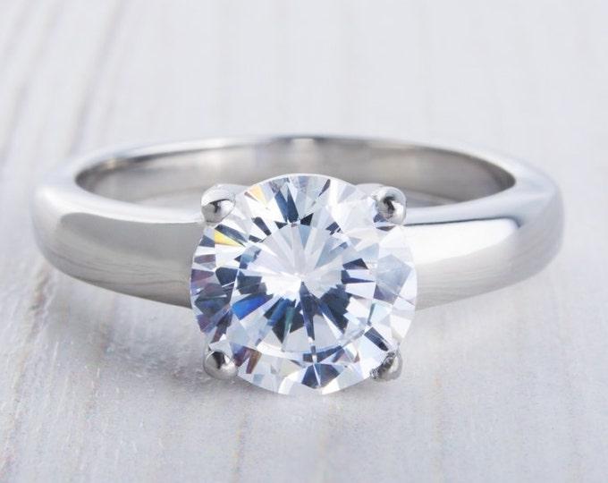 Titanium & 2ct Man Made Diamond Simulant ring in Titanium or White Gold - engagement ring - wedding ring - handmade ring